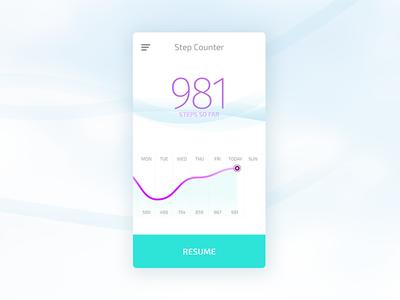 Step Counter App fitness clean light fresh flat material app ios