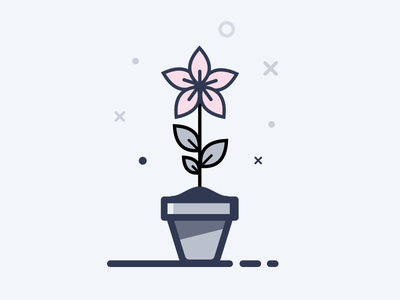Limted color flower cute game pot plant illustration simple lines icon ios