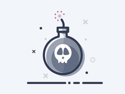 Bob Bomb line boarding on skull ui bomb illustration icon