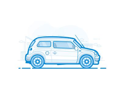 Car Illustration sketch minimal vector icon ui design illustration flat ios