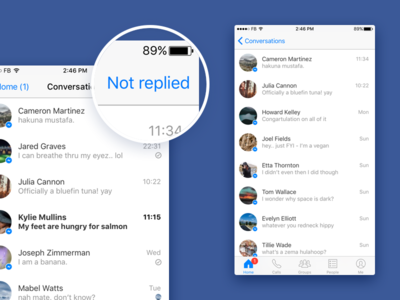 Not replied app messenger redesign improvement messages messaging user experience experience usability ux facebook