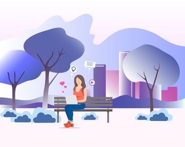 Illustration for web design Park girl technology