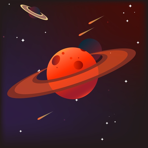 Illustration red planet space meteor white black minimal graphic booklet background vector comet asteroid mars stars astronaut icons galactic red illustration planet space design