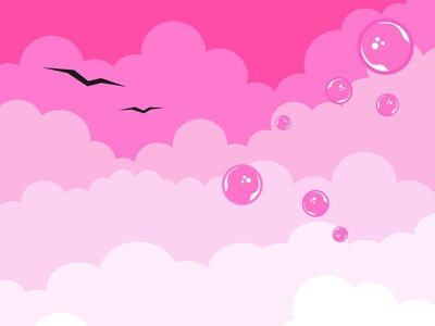 Clouds on a pink background.Isolated elements.Birds and bubbles