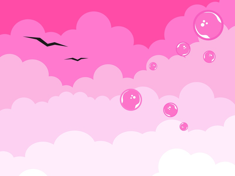Clouds on a pink background.Isolated elements.Birds and bubbles poster fabric sky pink bubbles birds clouds comet background blue paper red pattern minimal graphic booklet black vector illustration design
