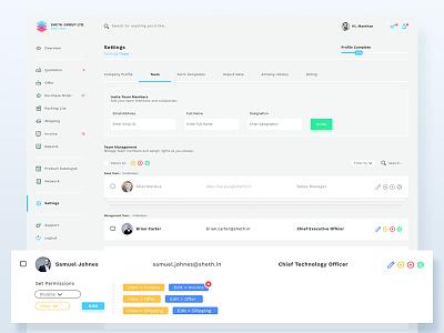 User Permissions permissions procurement management team visualization product navigation mobile metrics interface grid dashboard