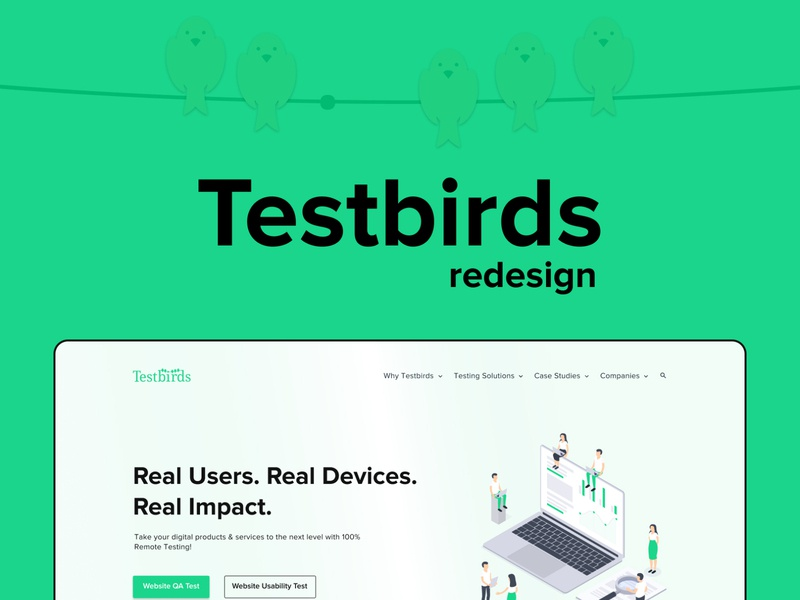 Testbirds Website Redesign logo illustration design app design branding ui ux landing page design webdesign uidesign