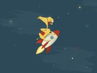 Camel on a rocket illustration