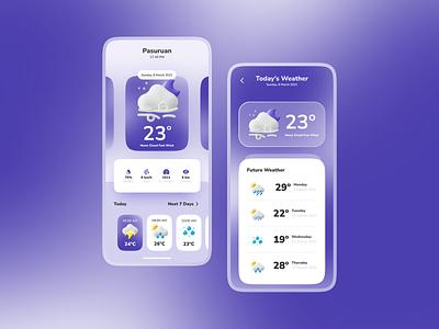 Weather ⛈ - UI Mobile App mobile app mobile ui weather app weather ios uiconcept android app ui  ux glasses glassmorphism glassy uiux app uidesign design ui
