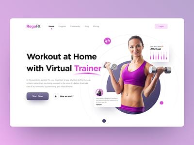 RogoF!t - Hero Landing Page virtual trainer sport ui design uitrend landingpagedesign landingpage webdesign ui  ux uiux design ui uidesign fitness workout