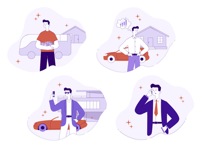 Illustrations for Financial App character ui  ux vector flatdesign graphic design flat illustraion