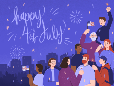 USA Independence Day illustration america character design flat illustration procreate fourth of july independence day postcard usa illustration