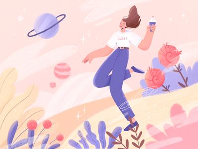 Sweet world illustration character design procreate art illustration