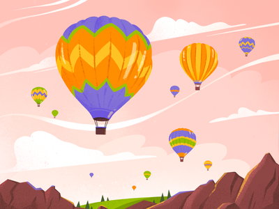 Cappadocia air balloon festival landscape travel cappadocia turkey air balloon artist art illustration