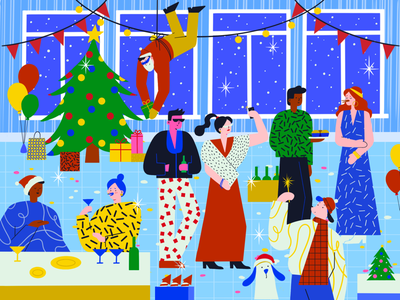 Merry Christmas and Happy New Year people winter art illustration friends party celebration christmas new year