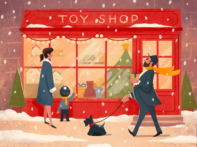 Toy shop illustration winter new year christmas character design cozy shop procreate art illustration
