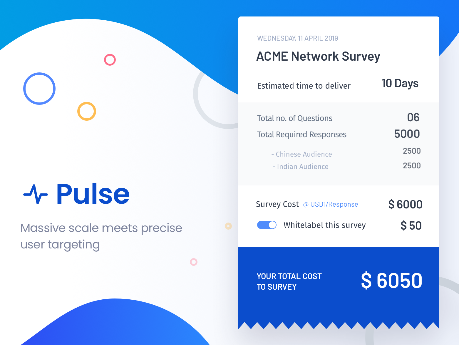 Pulse Targeting pulse report receipt payment targeting audience cards ui invoice cards card bill