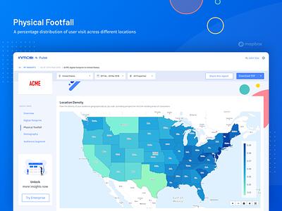 Physical Footfall reports dashboad insight rebound population footfall heatmap map mapbox