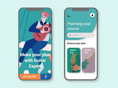 Course Guitar App illustrator flat app ui website web ux illustration design branding