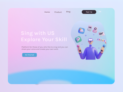 Sing with Us App animation vector graphic design app website web illustration ux ui flat design