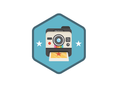 Photo Of The Week photo badge camera polaroid vector illustration icon