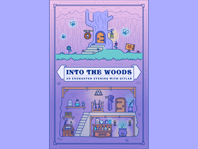 An Enchanted Evening With Gitlab Poster game shop spell fairy fantasy woods gitlab event workshop witch