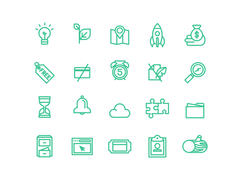 Line Icons icon vector log map money storage bell web design tag credit card