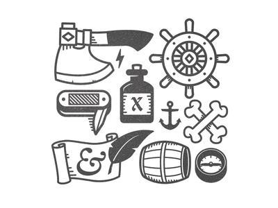 Sailor Assets illo vector axe bottle knife bones barrel compass icon scroll