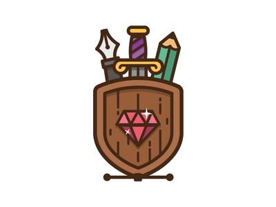 Shield shield pen pencil linework sword diamond illustration icon logo design
