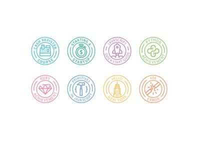 Codecademy Badges print editorial codecademy code badge reward javascript ruby error python icon line