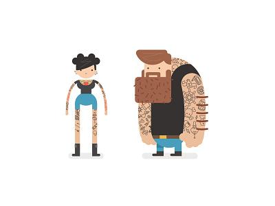 Tats tattoo character vector skull girl boy beard