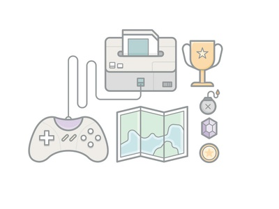 Gaming Elements game pad rupee bomb coin map vector illustration line