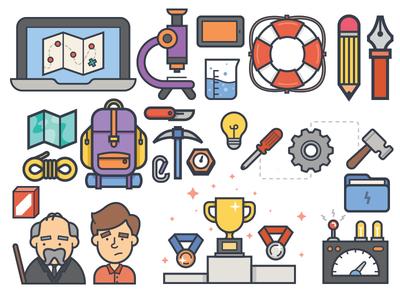 Ebook Illustrations print editorial illustration vector ebook camping climbing science help award cup icon