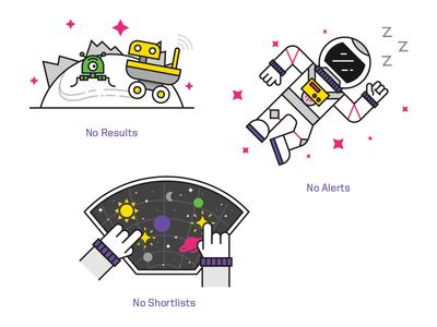 Intergalactic Empty States space alien man astronaut mars stars planet alerts results shortlists illustration icon