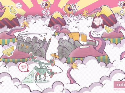 In The Clouds illustration vector illustrator colored photoshop tenticles candy madness mac hills tyle stripes free robot wallpaper birds chaos vicbell city tiny ngs halftone clouds purple diamond pink yellow white download