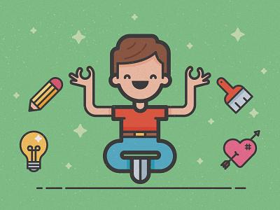 Guru meditation heart bulb icon pencil illustration guru