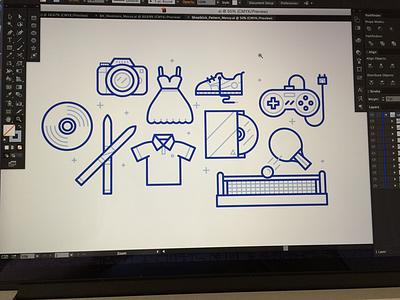 Hobbies illustration game shoe camera record ski dvd tennis table hobby hobbies icon