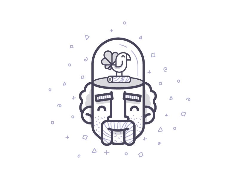 Bird Brain brain pattern head moustache bird illustration character