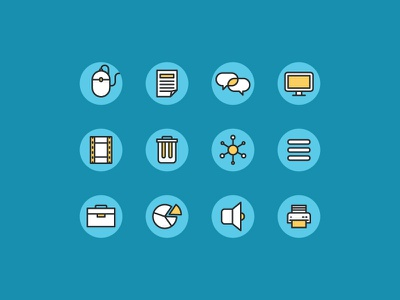 Course Icons file mouse speaker sound printer pie trash screen course icon illustration