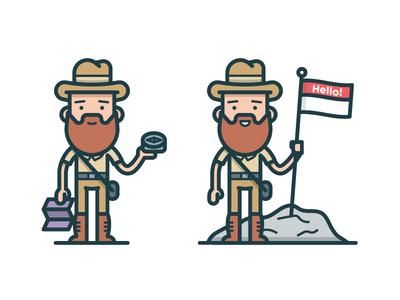 Explorer print editorial compass map icon adventure explorer character illustration