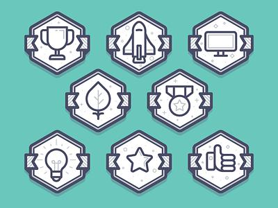 Gamification Badges reward award cup bulb light shuttle icon badge