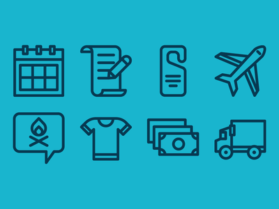 Retreat Icons travel expense cost money tee reservation hotel plane icon