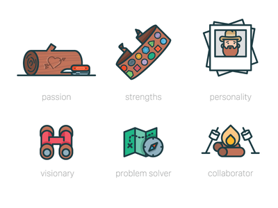 Explorer Icons print editorial explore outdoor camping brand illustration icon vision problem collaborate personality