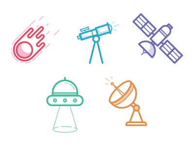 Spacey Space Icons illustration icon ship craft telescope satellite comet space