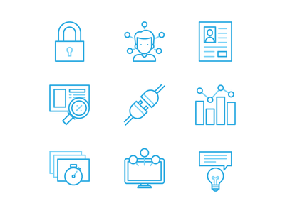 Feature Icons access build profile trends personalised illustration icon integrate specific user