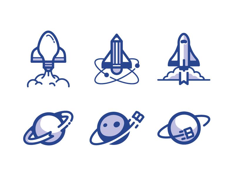 Tiny Books Logo Concepts book planet illustration design icon concept idea shuttle space logo