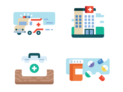 Medical Icons print editorial bottle pills kit aid first hospital ambulance illustration icon medical