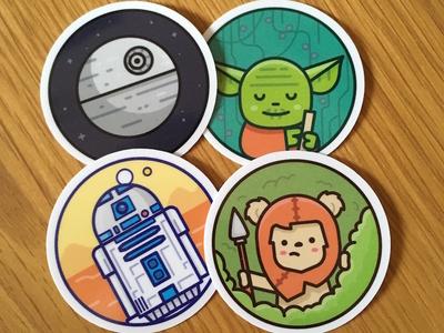 Stickers for a conf far far away ... r2d2 yoda ewok wars star icon sticker illustration south creative