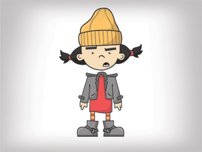 Spinelli illustration vector photoshop character red fan illustrator boots recess cartoon pigtails orange spinelli