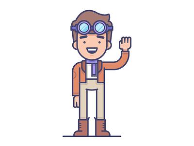 Pilot goggles adventure pilot character illustration